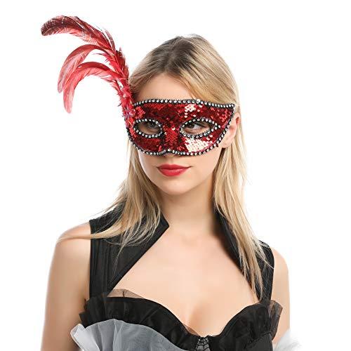6 Piezas Máscaras Venecianas de Plumas con Lentejuelas y Cuentas Antifaz Carnaval de Disfraces para Fiesta (Rojo, Talla única)