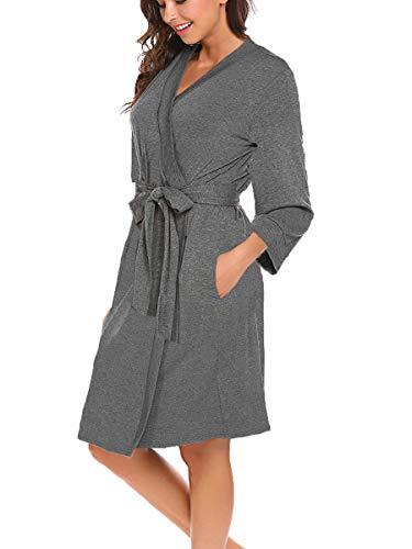 Bluetime Women Robe Soft Kimono Robes Cotton Bathrobe Sleepwear Loungewear Short (M, Heather Grey)