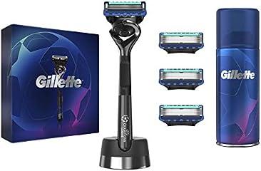 Gillette Fusion 5 Kit Uomo composto da Rasoio + Gel da Barba + Supporto Magnetico + 4 Lamette di Ricarica, Idea Regalo,...