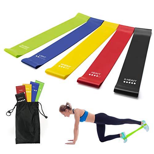 Ledeak Widerstandsbänder 5er-Set, Naturlatex Fitnessbänder mit Tragebeutel, Gymnastikband in 5 Stärke für Männer und Frauen Crossfit, Muskelaufbau, Yoga, Pilates
