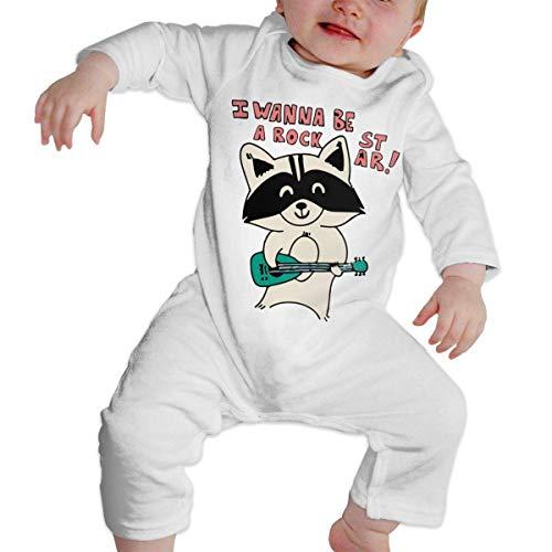 I Wanna Be A Rock Star Long Sleeve Romper Bodysuit for Baby Boys