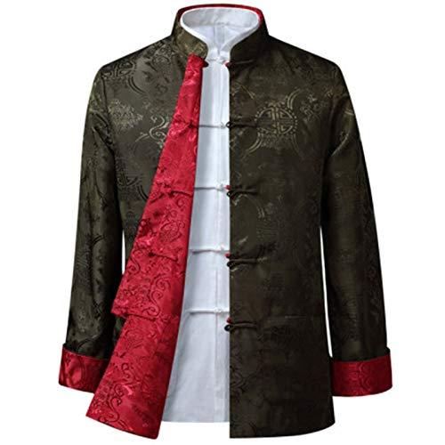 Hanfu Tang traje Traje Tang - Estilo chino Chaqueta China China Chaqueta China Kung FU Ropa Uniforme de rendimiento de fiesta de doble cara Fácil de usar y duradero ( Color : Green red , Size : 190 )