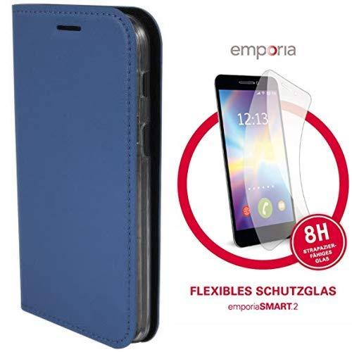 Emporia Handy-Schutzhülle im Book-Hülle Design mit Visitenkartenfach passend für emporia Smart.2 und  dünnes & flexibles Schutzglas für SMART.2 (8H)