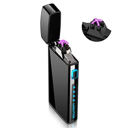 Accendino Elettrico, Accendino Antivento Ricaricabile USB con indicatore di Batteria per Sigarette, Candele, fuochi d'artificio – S2000
