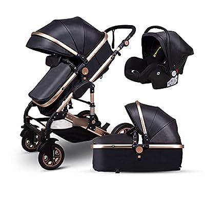 HZPXSB 3 en 1Stroller Baby Luxury Baby Stroller High Landscape Baby Carriage PU Material con Asiento de Coche (Color : Black PU)