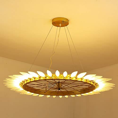 Luz Colgante Retro Para Dormitorio con 40 × LED 3W Lámpara Regulable Candelabro de Rueda de Metal Redonda Dorada G4 Pantalla de Cristal Hielo Araña de Salón Ajustable en Altura Ø90cm