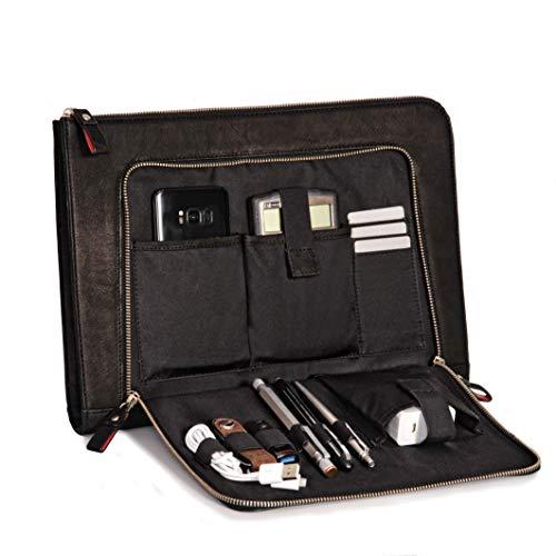 Custodia per notebook DONBOLSO® London nera - 13,3 pollici DIN A4 Ultrabook Cartella in vero cuoio per uomini e donne