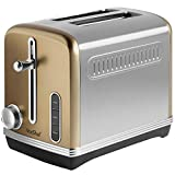VonShef 2 Slice Toaster - Toaster with 6 Level Browning Control, Removable Crumb Tray, Defrost and Reheat Functions - Champagne Gold