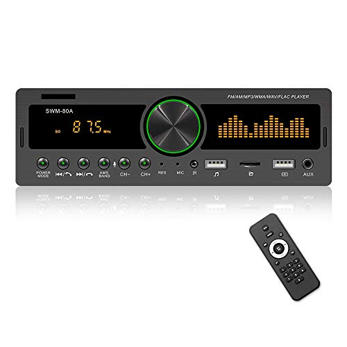 Hikity Audio Systems Multimedia Car Stereo Single Din Bluetooth Audio, AM FM Radio Receiver, Built-in Microphone, MP3 Player, USB Port, AUX Input + Remote Control