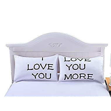 Sleepwish One Pair I LOVE YOU MORE Pillow Case Cover Pillow Romantic Wedding Valentine's Gift for Him or Her 50x90cm