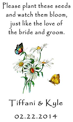 Personalized Wedding Favor Wildflower Seed Packets Butterflies Daisies Design 6 verses to choose from Set of 100