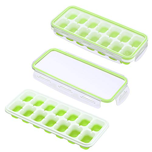 IKICH Ice Cube Trays with Locking Lids, Easy-Release Silicone and Flexible 14-Ice Trays Stackable Ice Cube Molds for Whiskey Baby Food, Pack of 2
