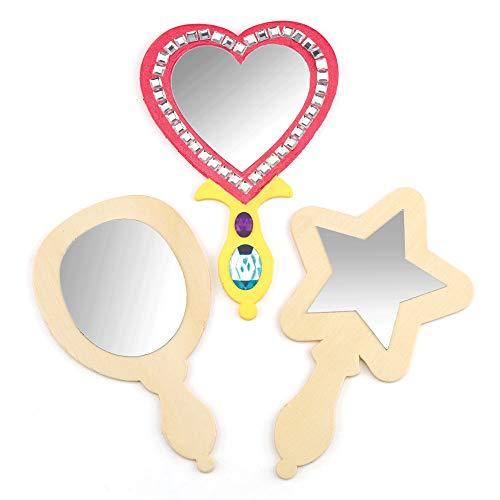 Baker Ross Spegel av trä för barn att måla och dekorera – för prinsessor och temafest (3 stycken)