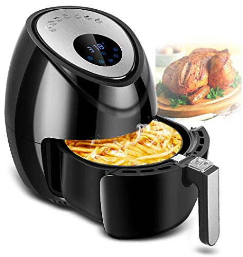 TOBOX Electric 1500W Digital Air Fryer Cooker Touchscreen 3.8QT with 7 in 1 Cooking Cookbook Temperature Control, Auto Shut off Feature, Black