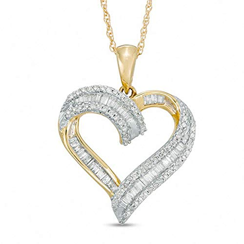 Colgante de corazón de diamante de corte redondo D/VVS1 de 1/4 quilates, 45,72 cm, chapado en oro amarillo de 10 K, plata 925