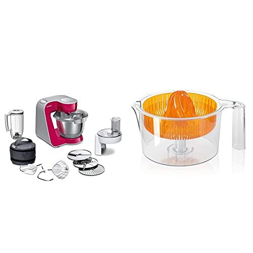 Bosch Hogar MUM58420 CreationLine Robot de cocina, 1000 W, 3.9 litros de capacidad, color rojo burdeos + MUZ5ZP1 Exprimidor para robots de cocina MUM5, color naranja