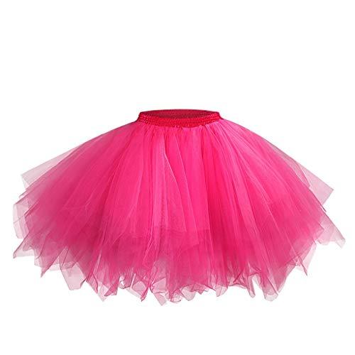 Yncc✬ Femmes Mesh Tulle Jupe Princesse ÉLastique Adulte Courte Tutu Danse Couleur Bonbon éLastique Parties FêTe Danse Adulte Costumes Mini Haute Taille