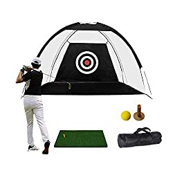 "Perfect Size: Golf net 6.6'(W)* 4.6'(H)* 3.3'(D) Golf mat 23.62""* 11.81"". Suitable for children to practice golf. Easy to Use: Our golf net is convenient for you to set up indoor and outdoor use at any time to improve your training effect. Easy to Se..."