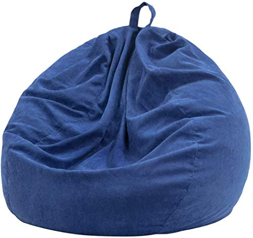 Nobildonna Stuffed Storage Bird's Nest Bean Bag Chair Cover (No Filler) for Kids and Adults. Extra Large Beanbag Stuffed Animal Storage or Memory Foam Soft Premium Corduroy(Dark Blue, 27'x27')