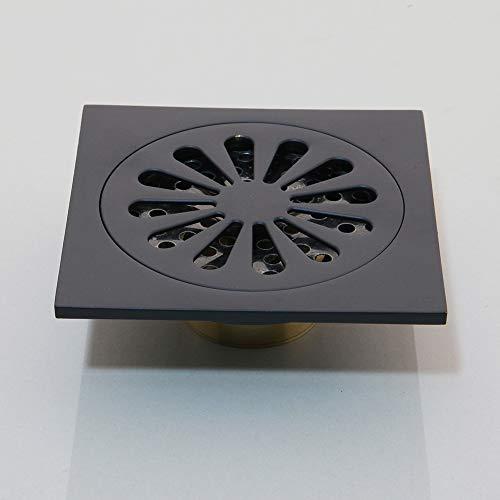 Badezimmerzubehör Bodenablauf Badezimmer Black Bronze Flower Carved Drain Dusche Waste Drainer Art Floor Drain,Schwarz