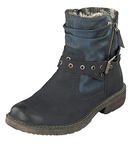 Relife Damen Tex Winter Stiefel Boots 9117-14811B-L37R gefüttert (38 EU, Navy)