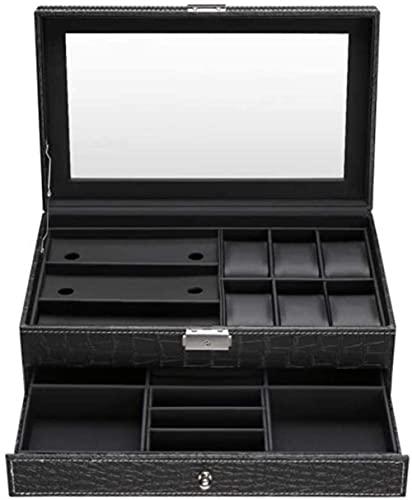 XLAHD Caja enrolladora de Reloj automática Caja de Reloj de Doble Capa Caja Colección de Joyas Almacenamiento con Cerradura Pantalla Superior de Vidrio Mujeres Caja de Caja para niñas