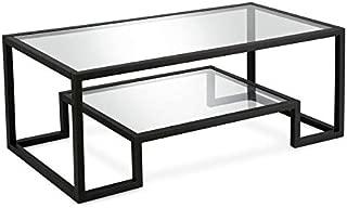 Henn&Hart Glass Geometric Coffee Table in Blackened Bronze