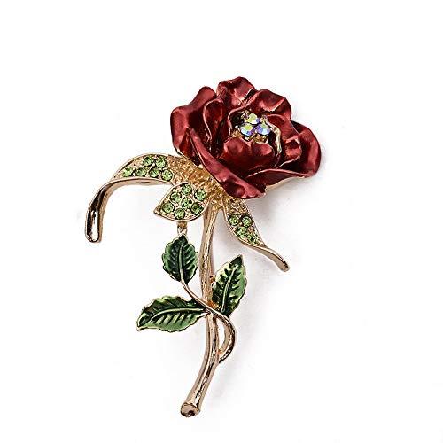CVFD Broche de Disfraz de Flor, Regalos para Mujer, Diamantes de imitacin de Diamantes de Alta Gama, Accesorios de Ramillete de Rosas de trbol, Broche, Regalos para el da de la Madre