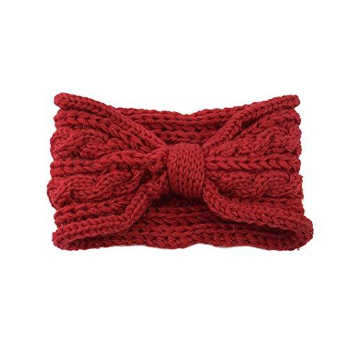 U/D Sygjal Maquillaje Hecha Punto del Nudo de Lana de Invierno de Scrunchie Arco Ancho Retro Hairbands Suave for Mujer Accesorios for el Cabello (Color : Dark Red, Size : Size Fits All)