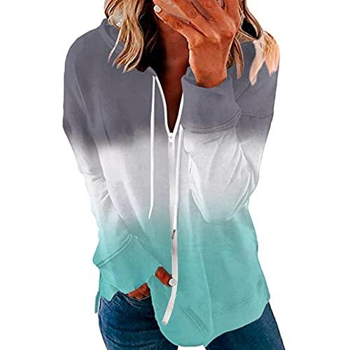LCLrute - Sudadera de manga larga para mujer, para invierno, con capucha, de gran tamaño, con cremallera completa, estilo degradado, 01#verde, M