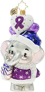 Christopher Radko Hand-Crafted European Glass Christmas Decorative Figural Ornament, Never Forget Elephant