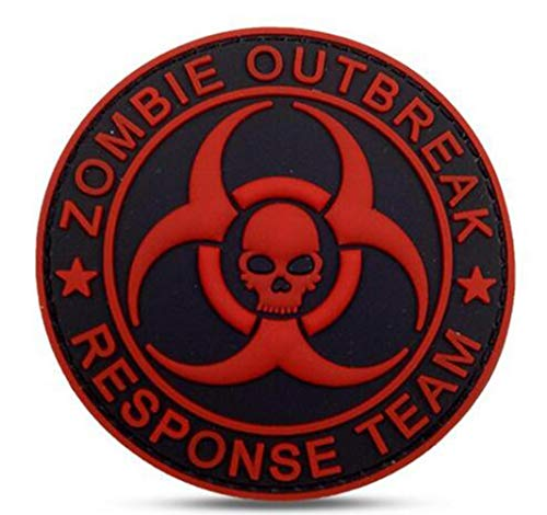 Ohrong Zombie Outbreak Response Team PVC Tactical Morale Patch 3D Military Rubber Combat Badge Armband Emblem for Bags Caps Jackets with Hook Backing (Red Black)