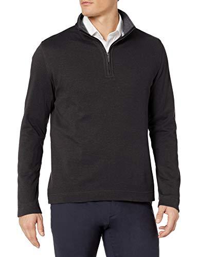 Geoffrey Beene Men's Long Sleeve Stretch Twill 1/4 Zip Pullover, Black, Large