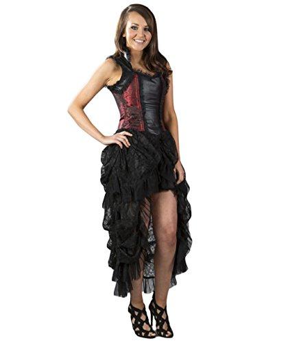 Burleska Damen Korsett Kleid - Isabella Brocade Rot Dress Viktorianisch 36