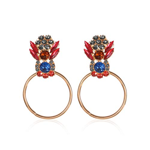 Weinlese-Frauen-Ohrringe Nepal-Art-Kristallband-Ohrstecker Kristalle Geschenke edlen Schmuck für Frauen Goldenen 1Pair