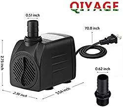 Qiyage 2019 New 400GPH Submersible Pump 25W Ultra Quiet Fountain Water Pump with 5.9ft Power Cord, 2 Nozzles for Aquarium, Fish Tank, Pond, Hydroponics, Statuary