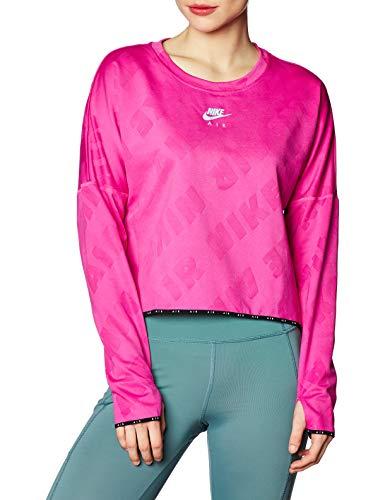 NIKE Sudadera para Mujer Air Midlayer Crew, Mujer, Sudadera para Mujer., CJ1882, Fire Pink/Reflective Silv, Large