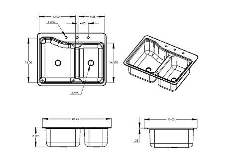Lippert 209694 Better Bath RV Double Sink 25' x 19' White