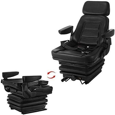discount Mophorn Mechanical Suspension Seat lowest Adjustable Backrest Headrest and Slide Rails Universal Full Suspension high quality Seat with Fold Up Armrests Shock Absorber for Excavator Fork Lifts Dozers Aerial Lifts outlet sale