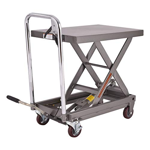 Cypress Shop Rolling Hydraulic Table Cart Lift Table Material Handling Foot Pump Foot Pedal Hand Lever Heavy Duty Oil Resistant Rubber Mat Prevent Slippage Swivel Casters Wheels Capacity 500lbs