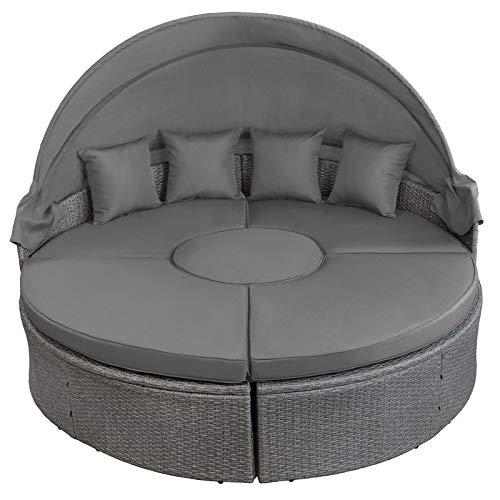 Montafox 13-teilige Polyrattan Lounge Muschel Sonneninsel Sonnendach Klappbar Zierkissen Auflagen 10 cm Dicke, Farbe:Kieselstrand - 4