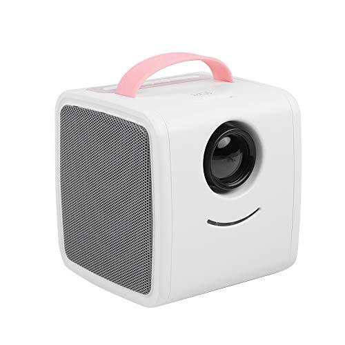 ASHATA Mini Proyector,Educación Temprana Proyector LED Portátil para Ver Videos,Escuchar Música, Estudiar.Cine en Casa para Regalo de los Niños(Protege los Ojos,Apoyo Múltiples Idiomas)(Rosa)