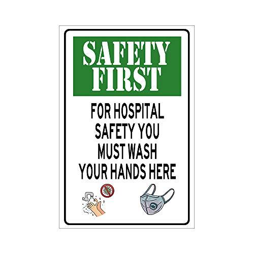 unknow SAFETY FIRST Schild WASH HANDS rechteckiges Schild grünes Blechschild öffentliche Hinweisschilder für Mall Hopital Wanddekoration, Aluminium, Option-1, 12*16 inch