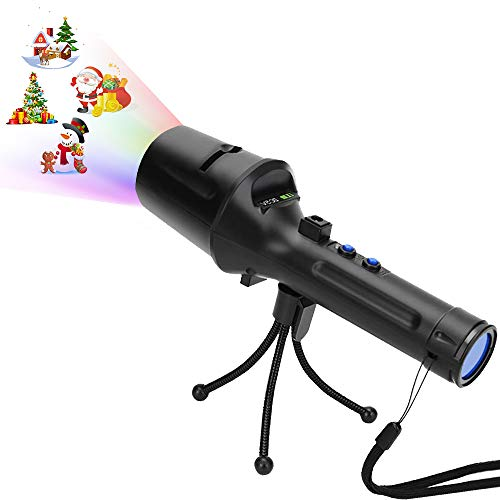 LED Christmas Projector Lights, Kids Handheld Projection Flashlight with 14 Patterns LightShow Decoration for Xmas, Birthday, Party, Haloween, Easter (18650 Battery Included)