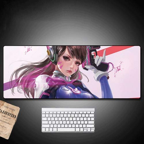 Xfwj Overwatch Mouse Pad Dva Desk Mat Bureau Mat 40 cm x 80 cm PU Leather Desktop Ink-absorberende Laptop Computer Table Mat Waterproof Desk Schrijven raad