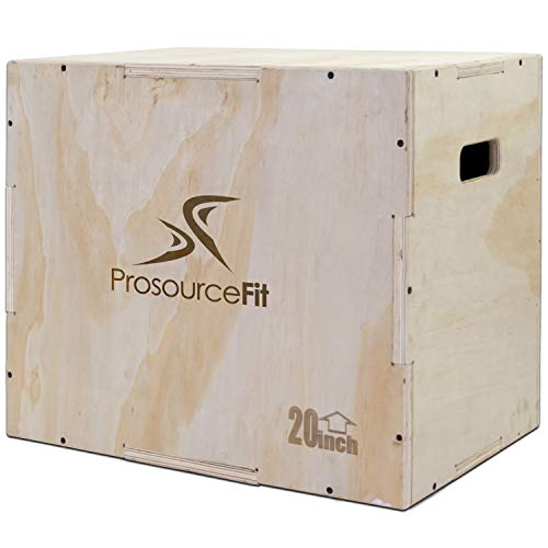 Prosource Fit 3-in-1 Wood Plyometric Jump Box for Crossfit, Agility, Vertical Jump Training & Plyo Workouts, Sizes 24/20/16