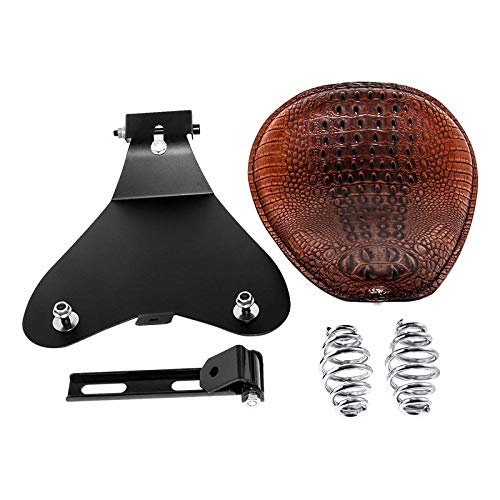 3' Leather Solo Seat with Spring Bracket Kit for Sportster XL 1200 883 48 Chopper Bobber Seats Custom(Brown)