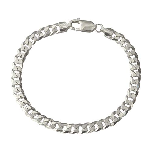 Solid 925 Sterling Silver 6mm Curb Bracelet Italian Made Various Length UK Hallmarked (9.0)
