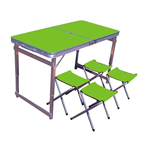 BUYT Picnic Tables Portable Outdoor Camping Leisure Dining Table Adjustable Height Thickened with Umbrella Hole