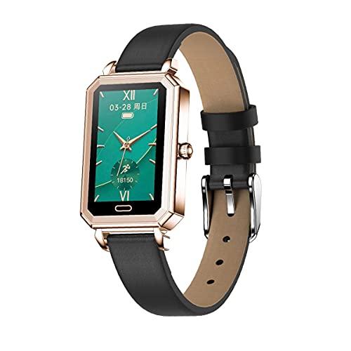 Armband Herzfrequenzuhr.Smart Band HT2 Herzfrequenz Blutdruckmessung Schrittzähler mit Multi-Sport-Modus Lederarmband